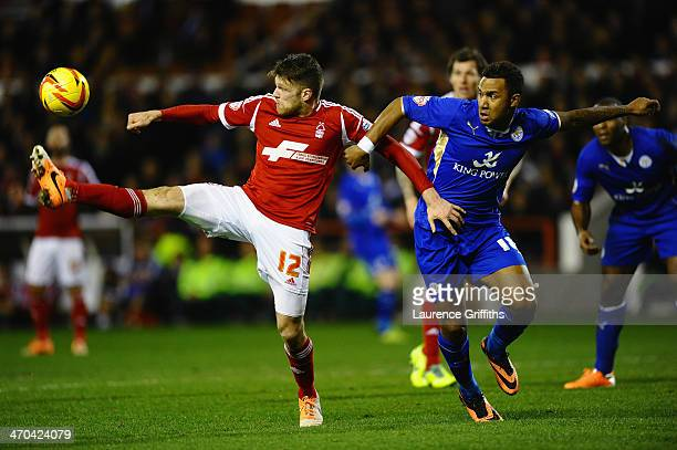 Jamie Makie of Nottingham Forest battles with Liam Moore of Leicesterduring the Sky bet Championship match between Nottingham Forest and Leicester...
