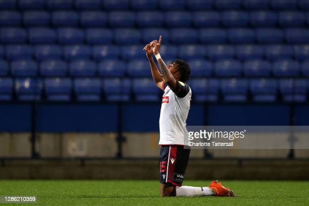 Jamie Mascoll of Bolton Wanderers celebrates his goal during the EFL Trophy match between Bolton Wanderers and Newcastle United U21 at University of...
