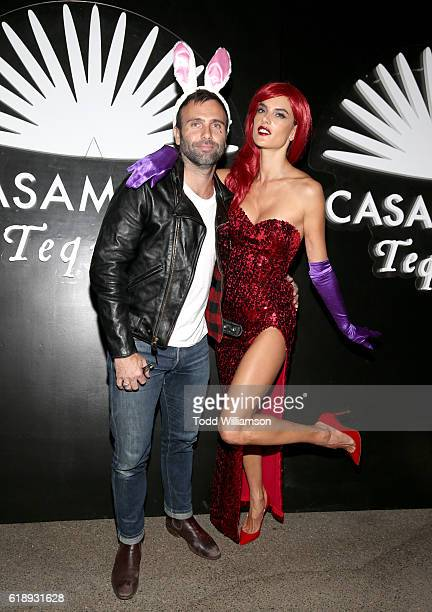 Jamie Mazur and model Alessandra Ambrosio arrives to the Casamigos Halloween Party at a private residence on October 28 2016 in Beverly Hills...