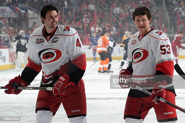 Jamie McBain and Jeff Skinner of the Carolina Hurricanes warm up prior to the Honda NHL SuperSkills competition part of 2011 NHL AllStar Weekend at...