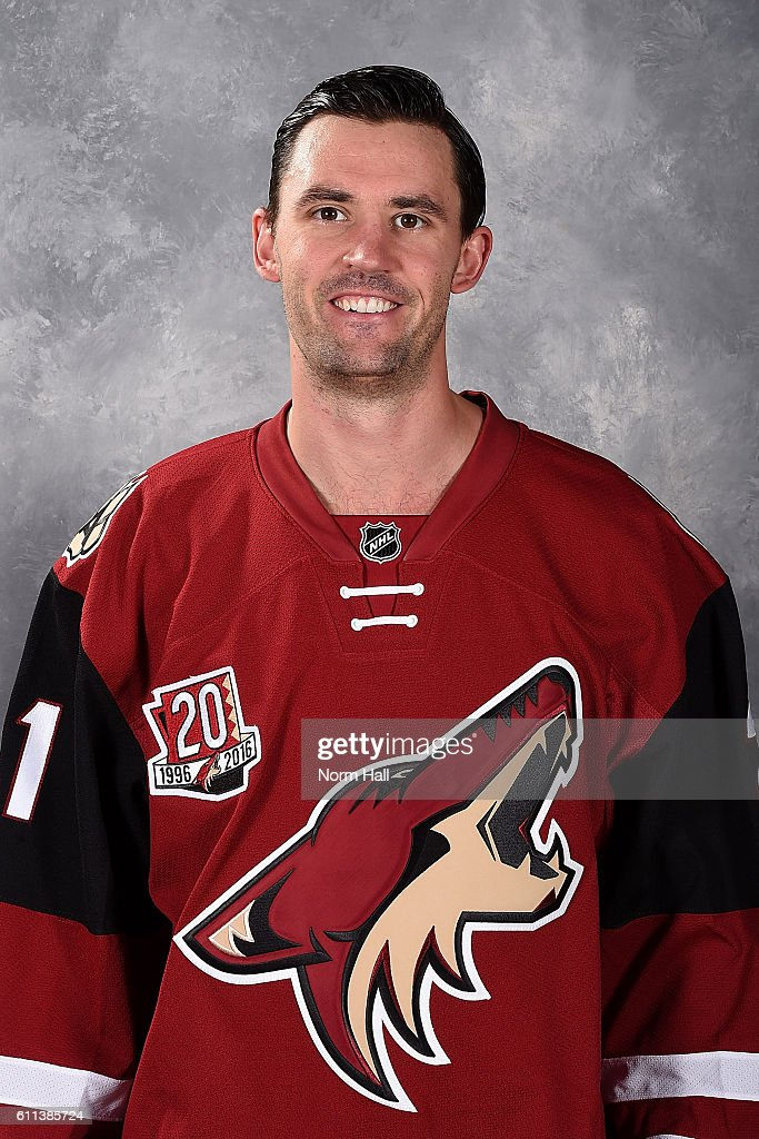 Jamie McBain #21 of the Arizona Coyotes poses for his official headshot of the 2016-2017 season on September 22, 2016 at the Gila River Arena in Glendale, Arizona.