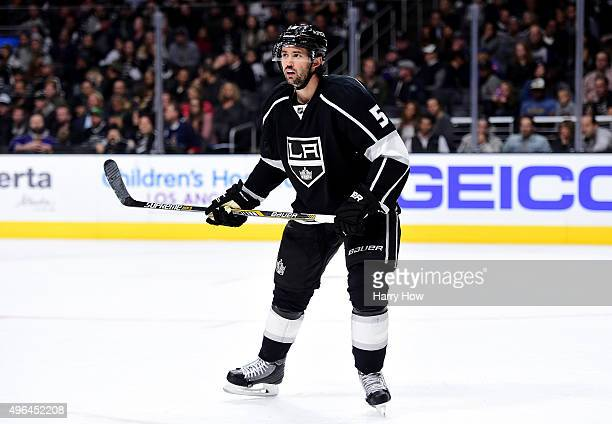 Jamie McBain of the Los Angeles Kings waits on defense during the game against the Columbus Blue Jackets at Staples Center on November 5 2015 in Los...