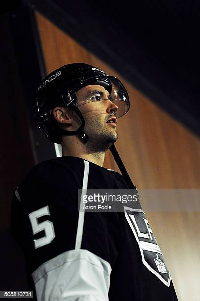 Jamie McBain of the Los Angeles Kings waits to start the game against the Toronto Maple Leafs on January 7 2016 at Staples Center in Los Angeles...