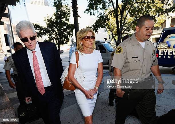 Jamie McCourt arrives with her attorney Dennis Wasser for a nonjury divorce trial at Los Angeles County Court August 30 2010 in Los Angeles...