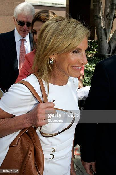 Jamie McCourt estranged wife of Los Angeles Dodgers owner Frank McCourt leaves court for a lunch break in Los Angeles California US on Monday Aug 30...