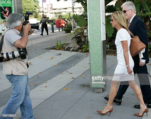 Jamie McCourt the estranged wife of Los Angeles Dodgers owner Frank McCourt second from right and her attorney Dennis Wasser far right arrive at...