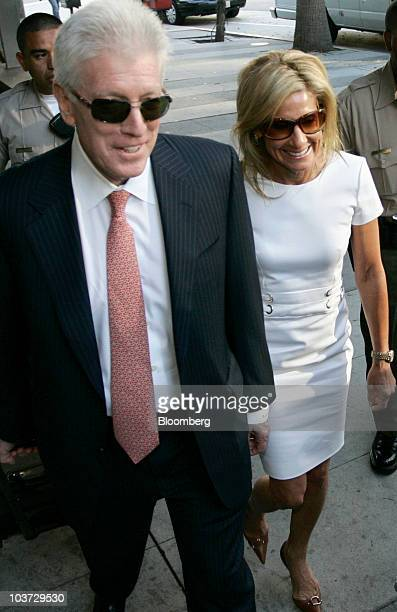 Jamie McCourt the estranged wife of Los Angeles Dodgers owner Frank McCourt right and her attorney Dennis Wasser arrive at court in Los Angeles...