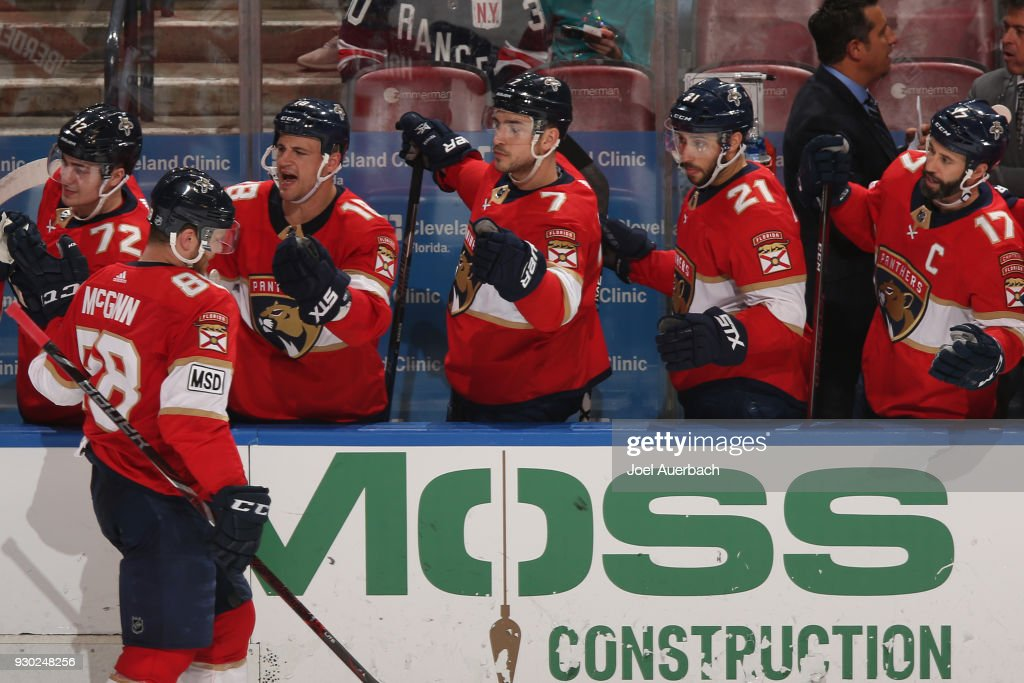 Jamie McGinn #88 of the Florida Panthers celebrates his third period goal with teammates against the New York Rangers at the BB&T Center on March 10, 2018 in Sunrise, Florida. The Panthers defeated the Rangers 4-3 in a shootout.