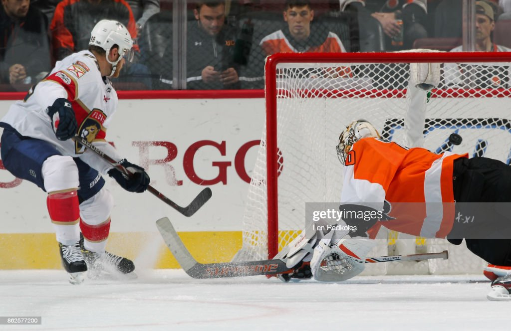 Jamie McGinn #88 of the Florida Panthers scores a third period goal against Michal Neuvirth #30 of the Philadelphia Flyers on October 17, 2017 at the Wells Fargo Center in Philadelphia, Pennsylvania. The Flyers went on to defeat the Panthers 5-1.