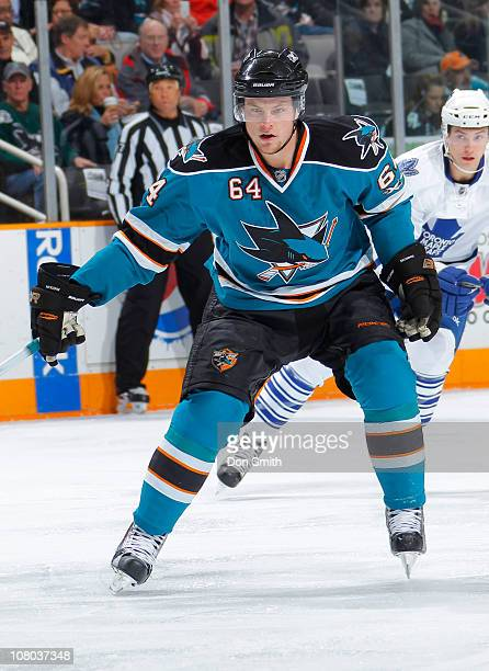 Jamie McGinn of the San Jose Sharks defends against the Toronto Maple Leafs during an NHL game on January 11, 2011 at HP Pavilion at San Jose in San...