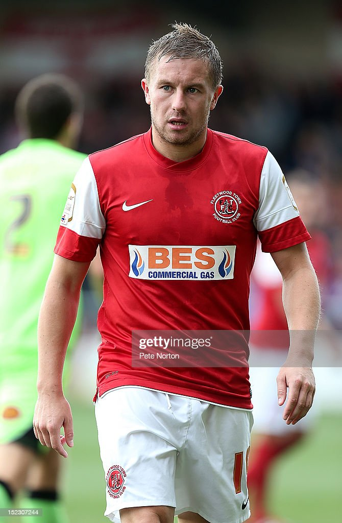 Jamie McGuire of Fleetwood Town in action during the npower League Two match between Fleetwood Town and Northampton Town at Highbury Stadium on September 15, 2012 in Fleetwood, England.