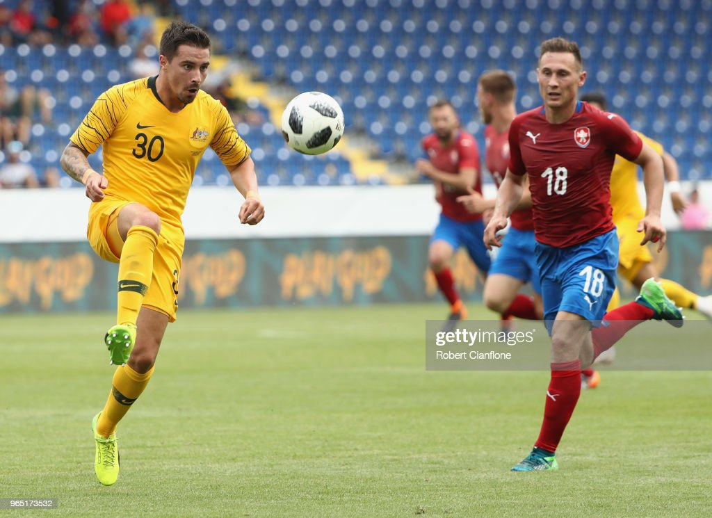 Jamie McLaren of Australia controls the ball during the International Friendly match between the Czech Republic and Australia Socceroos at NV Arena on June 1, 2018 in Sankt Polten, Austria.