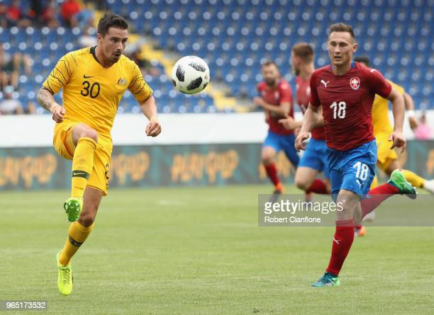 Jamie McLaren of Australia controls the ball during the International Friendly match between the Czech Republic and Australia Socceroos at NV Arena...