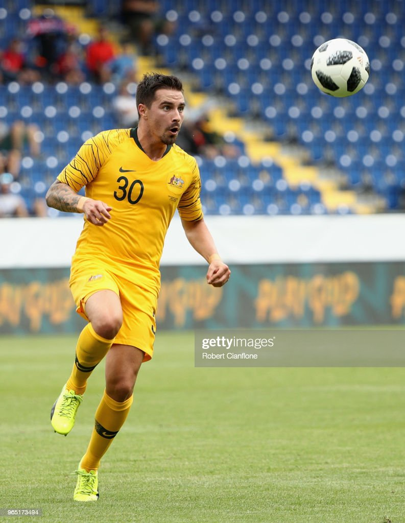 Jamie McLaren of Australia watches the ball during the International Friendly match between the Czech Republic and Australia Socceroos at NV Arena on June 1, 2018 in Sankt Polten, Austria.