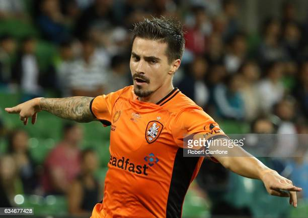 Jamie McLaren of the Roar celebrates after scoring his second goal during the round 19 ALeague match between Melbourne City FC and the Brisbane Roar...