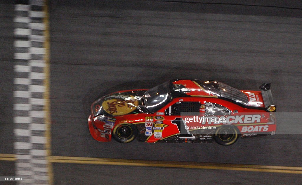 Jamie Mcmurray Crosses The Finish Line To Win The Daytona 500 At