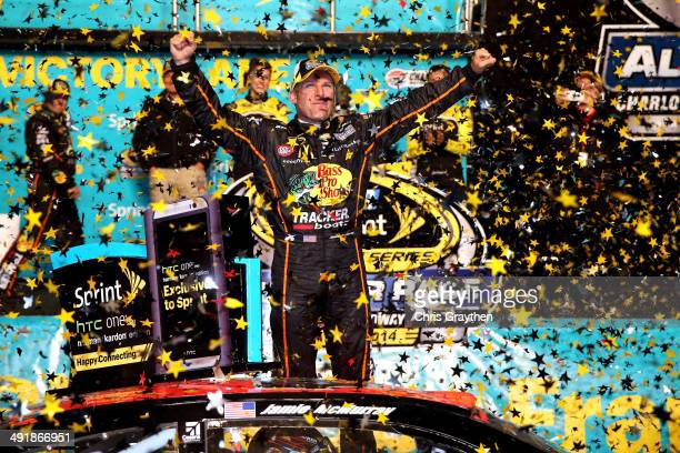 Jamie McMurray, driver of the Bass Pro Chevrolet, celebrates in victory lane after winning the NASCAR Sprint Cup Series Sprint All-Star Race at...