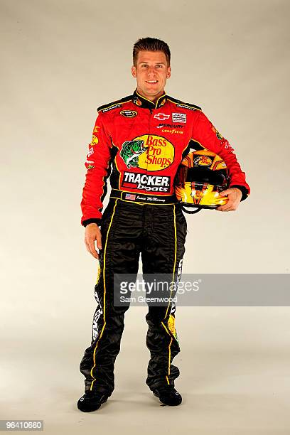 Jamie McMurray driver of the Bass Pro Shops/Tracker Boats Chevrolet poses during NASCAR media day at Daytona International Speedway on February 4...