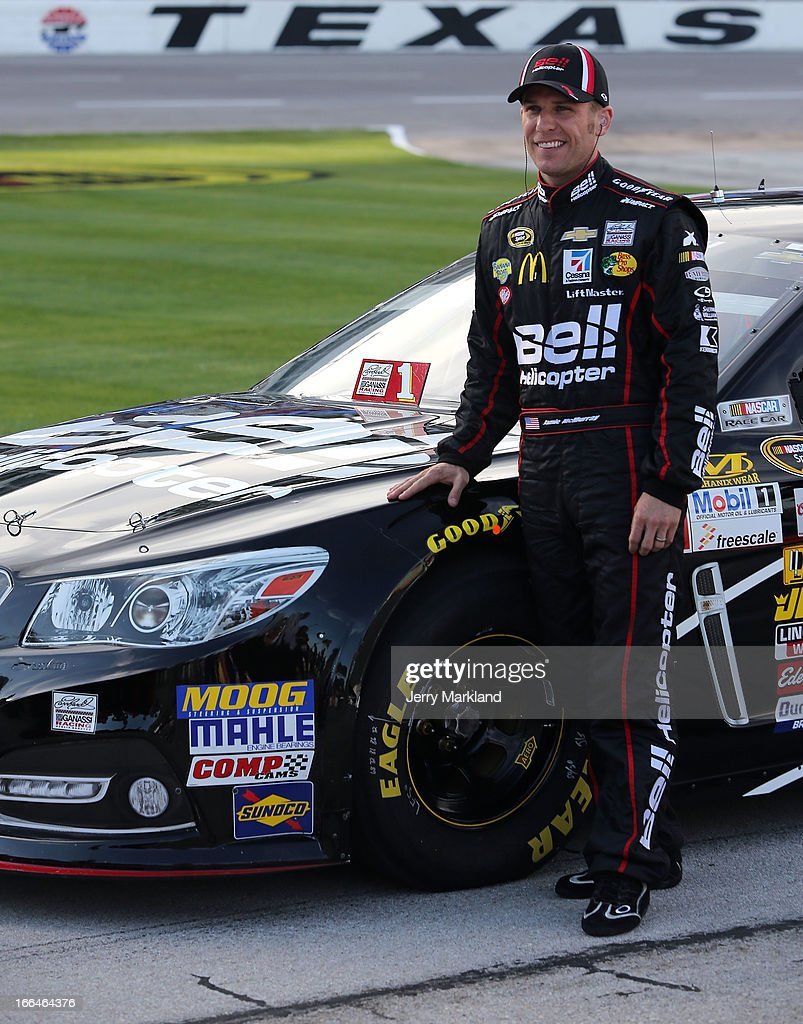 Jamie McMurray, driver of the #1 Bell Helicopters Chevrolet, poses for a photo during qualifying for the NASCAR Sprint Cup Series NRA 500 at Texas Motor Speedway on April 12, 2013 in Fort Worth, Texas.