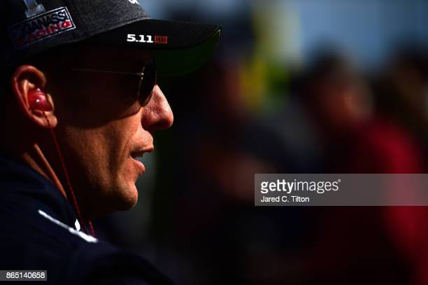 Jamie McMurray driver of the Cessna Chevrolet looks on prior to the Monster Energy NASCAR Cup Series Hollywood Casino 400 at Kansas Speedway on...