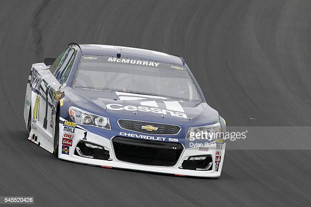 Jamie McMurray driver of the Cessna Chevrolet practices for the NASCAR Sprint Cup Series Quaker State 400 at Kentucky Speedway on July 8 2016 in...