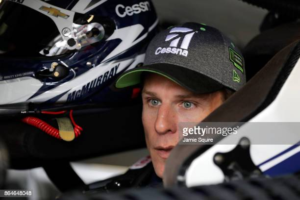 Jamie McMurray driver of the Cessna Chevrolet sits in his car during practice for the Monster Energy NASCAR Cup Series Hollywood Casino 400 at Kansas...