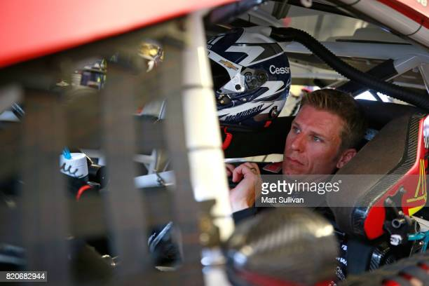 Jamie McMurray driver of the Chevrolet sits in his car during practice for the Monster Energy NASCAR Cup Series Brickyard 400 at Indianapolis...
