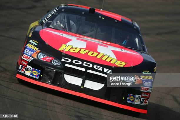 Jamie McMurray driver of the Chip Ganassi Racing Texaco/Havoline Dodge on track during practice for the NASCAR Nextel Cup Series Checker Auto Parts...