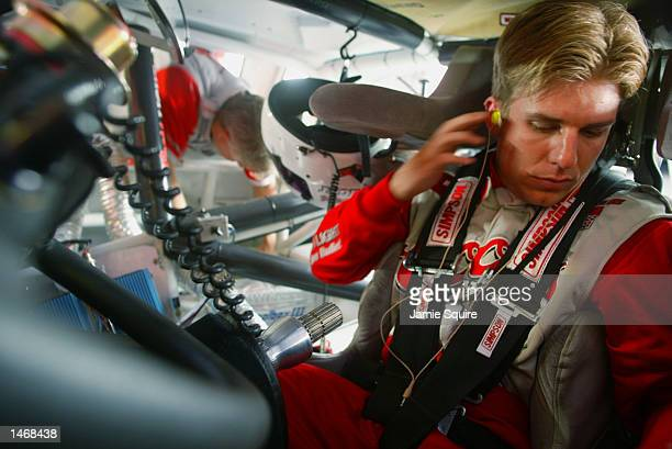 Jamie McMurray driver of the Ganassi Racing Dodge Intrepid R/T prepares to practice for the EA Sports 500 at Talladega Superspeedway on October 4...