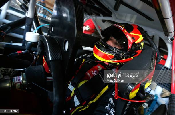 Jamie McMurray driver of the McDonald's Chevrolet sits in his car during practice for the Monster Energy NASCAR Cup Series Auto Club 400 at Auto Club...