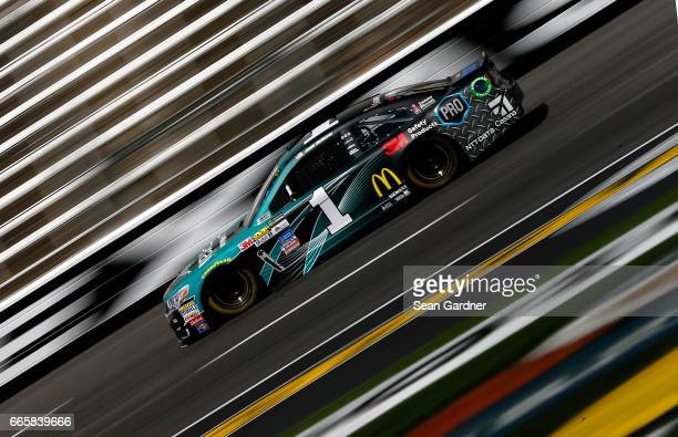 Jamie McMurray driver of the SherwinWilliams Emerald Chevrolet practices for the Monster Energy NASCAR Cup Series O'Reilly Auto Parts 500 at Texas...