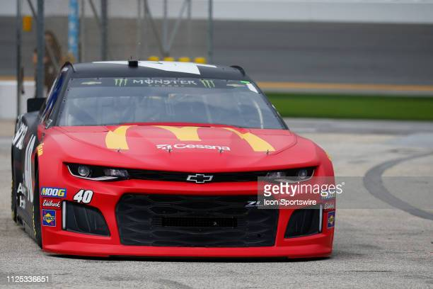 Jamie McMurray driver of the Spire Motorsports McDonalds/Cessna/Bass Pro Shops Chevrolet Camaro during final practice for the Daytona 500 on February...