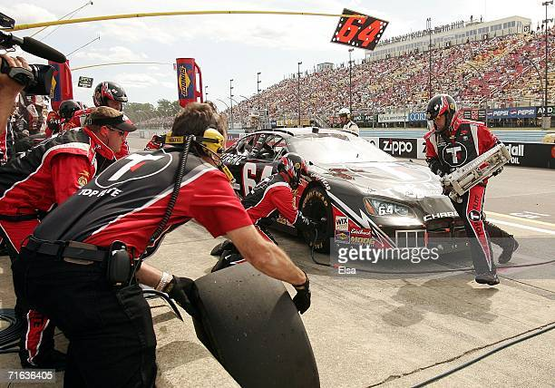 Jamie McMurray, driver of the Top Flite XL Extreme Dodge, in for a pit stop during the NASCAR Busch Series Zippo 200 on August 12, 2006 at Watkins...