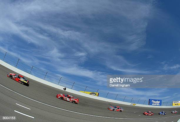 Jamie McMurray driving the Chipanassi Racing Havoline Dodge leads Dale Earnhardt Jr in the Budweiser Chevrolet during the NASCAR Nextel Cup Series...