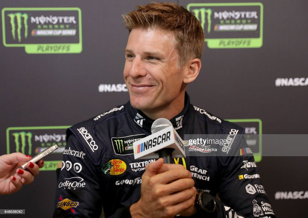 Jamie McMurray speaks to the media as one of the 16 drivers eligible to win the Monster Energy NASCAR Cup Series Championship during the 2017 NASCAR Playoffs Production & Media Day at NASCAR Hall of Fame on September 13, 2017 in Charlotte, North Carolina.