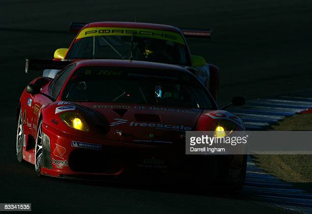 Jamie Melo drives the GT2 Risi Competizione Ferrari 430 GT during the American Le Mans Series Monterey Sports Car Championship on October 18 2008 at...