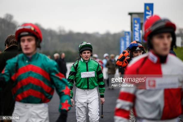 Jamie Moore makes his way into the parade ring at Chepstow racecourse on January 6 2018 in Chepstow Wales