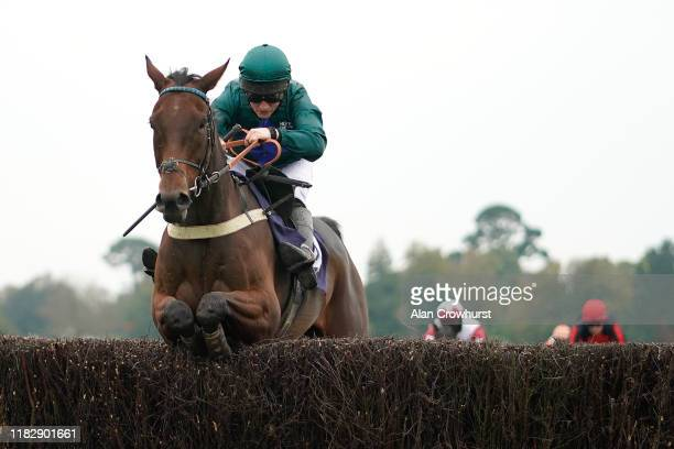 Jamie Moore rides Waikiki Waves clear the last to win The Visit attheracescom Handicap Chase at Fontwell Park Racecourse on October 23 2019 in...