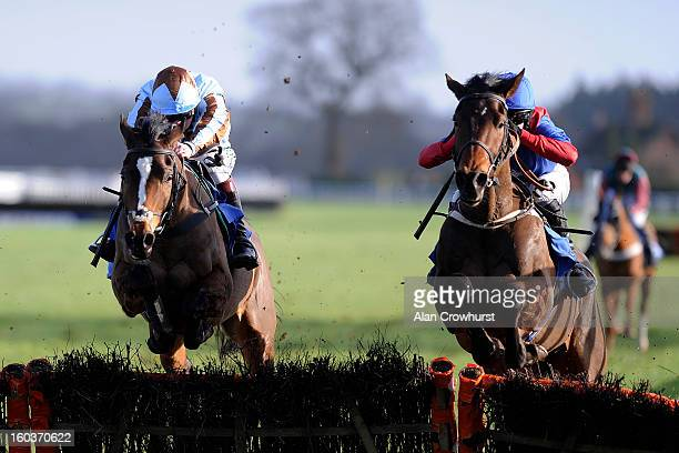 Jamie Moore riding Angelot Du Berlais clear the last to win The Bull Ring Juvenile Hurdle Race at Ludlow racecourse on January 30 2013 in Ludlow...