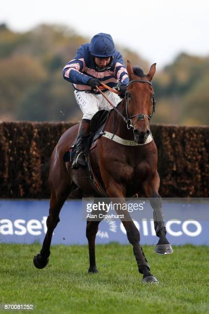 Jamie Moore riding Benatar clear the last to win The Ascot Underwriting Steeple Chase at Ascot racecourse on November 4 2017 in Ascot United Kingdom