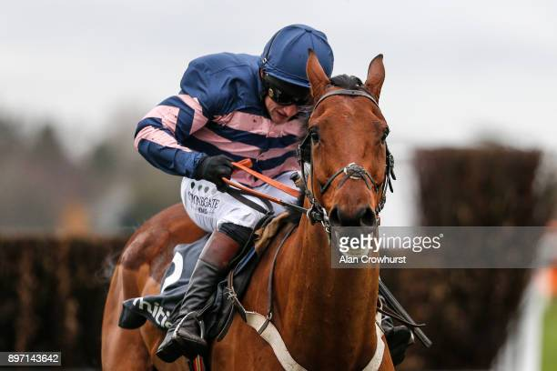 Jamie Moore riding Benatar clear the last to win The Mitie Noel Novicesâ Steeple Chase at Ascot racecourse on December 22 2017 in Ascot United Kingdom