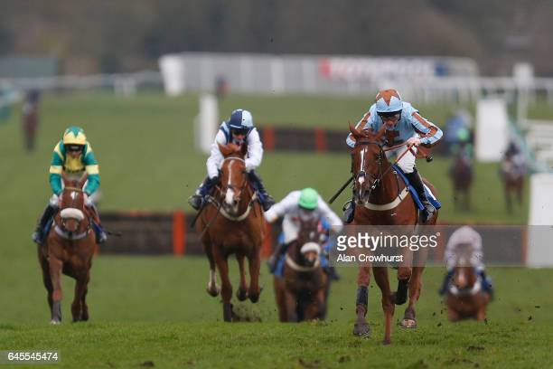 Jamie Moore riding Crystal Lad clear the last to win The totepool Supporting The Racehorse Sanctuary Novices Hurdle Race at Fontwell Park on February...