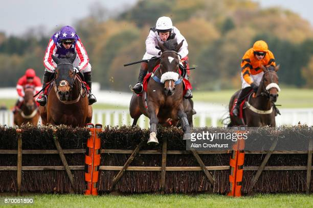 Jamie Moore riding Dell Oro clear te last to win The GL Events UK Novicesâ Hurdle Race at Ascot racecourse on November 4 2017 in Ascot United Kingdom