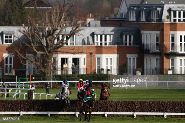 Jamie Moore riding Grey Gold on their way to winning The Betfred 'Treble Odds On Lucky 15's' Handicap Chase at Sandown Park on February 4 2017 in...