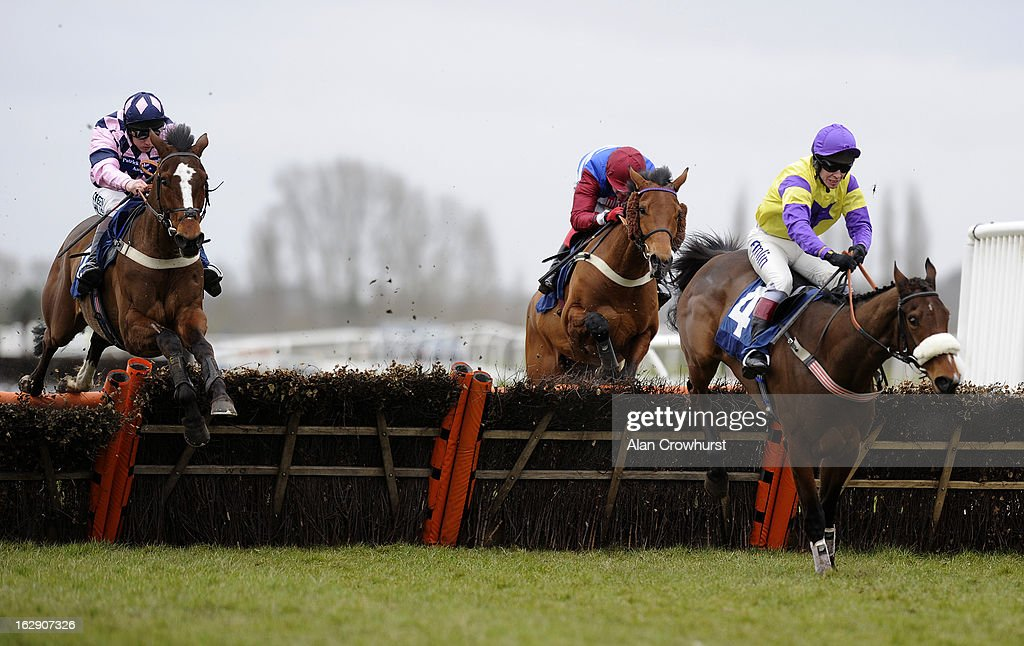 Jamie Moore riding Leo Luna (L) clear the last to win The Floor V Davis HL1979 Juvenile Hurdle Race at Newbury racecourse on March 01, 2013 in Newbury, England.