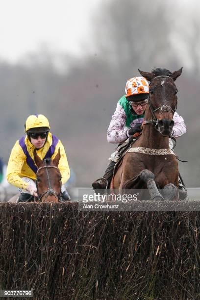 Jamie Moore riding Not Another Muddle clear the last to win The Groby Novicesâ Handicap Steeple Chase at Leicester racecourse on January 11 2018 in...