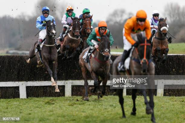 Jamie Moore riding Not Another Muddle on their way to winning The Groby Novicesâ Handicap Steeple Chase at Leicester racecourse on January 11 2018 in...