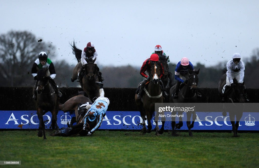 Jamie Moore riding Vino Griego fall at Ascot racecourse on December 22, 2012 in Ascot, England.