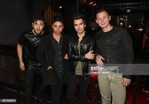 Jamie Morrison Adam Zindani Kelly Jones and Richard Jones of Stereophonics pose backstage at a secret gig to celebrate the launch of their new album...