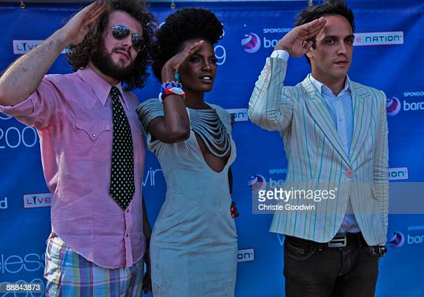 Jamie Morrison Shingai Shoniwa and Dan Smith of The Noisettes backstage on the second day of Wireless Festival at Hyde Park on July 5 2009 in London...